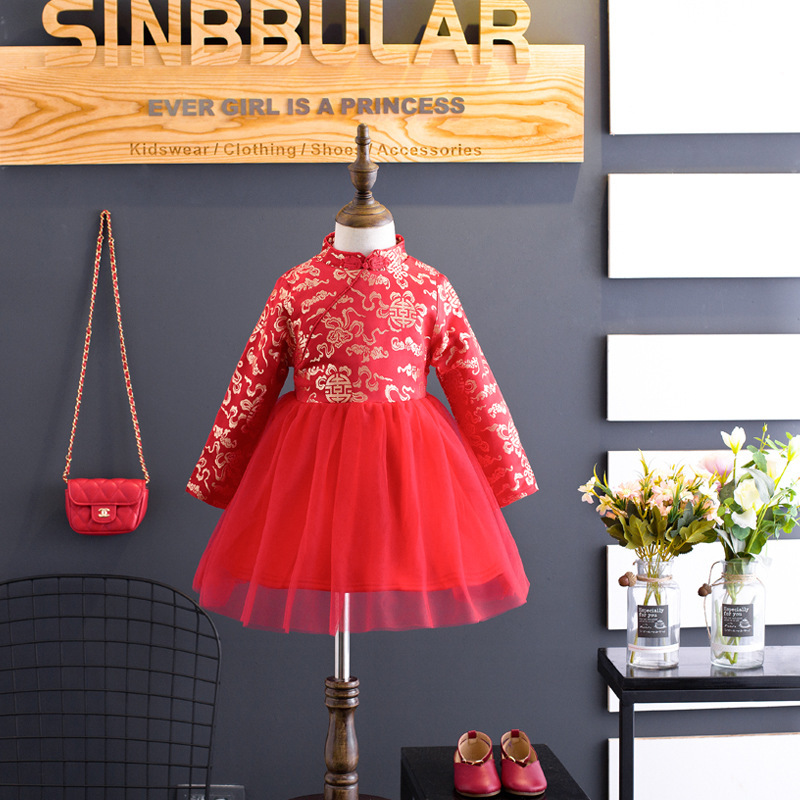 Girls Dresses Winter 2017 Kids Red Dress For Girls Chinese Cheongsam Baby Elegant Clothes Traditional Chinese Style