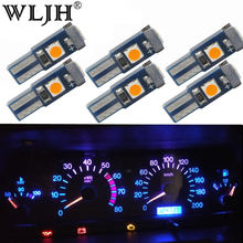 WLJH 10x Canbus 7Colors T5 LED Car Reading Bulb Instrument Panel Light Gauge Cluster Angel Eye Wedge 12V for BMW 318i