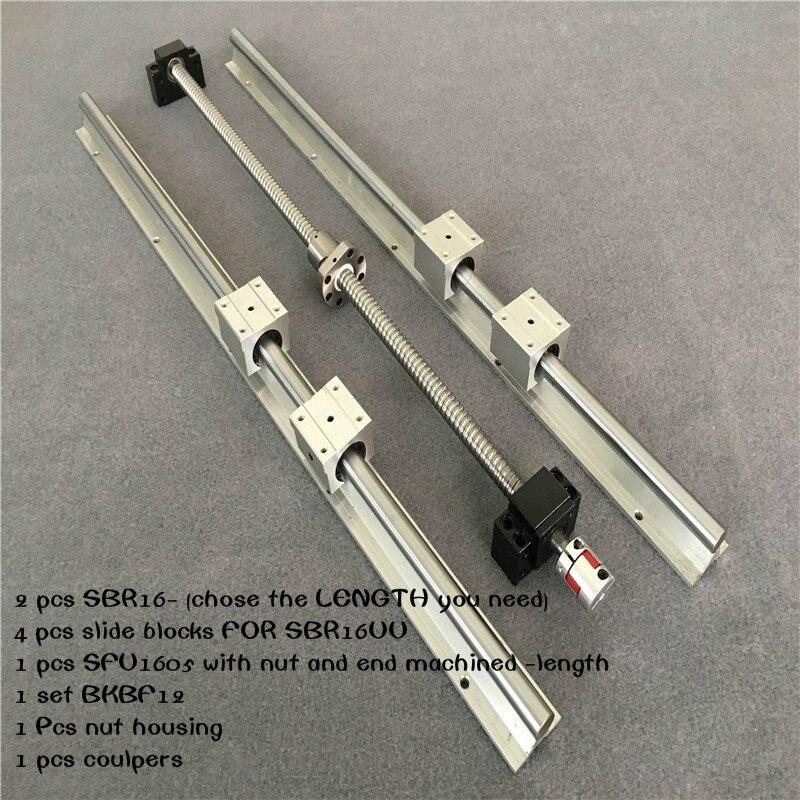 Livraison Gratuite vis à billes SFU1605 & amp 2 pièces de guidage linéaire SBR16 L n'importe quelle longueur + 4 pièces SBR16UU & amp BK12 et BK12 & amp coupleur 8
