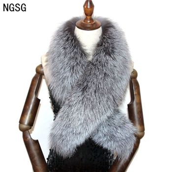 Women 80-100cm genuine fur collar for winter coat hairy fur collar scarves luxury 100% natural real silver fox scarf custom image