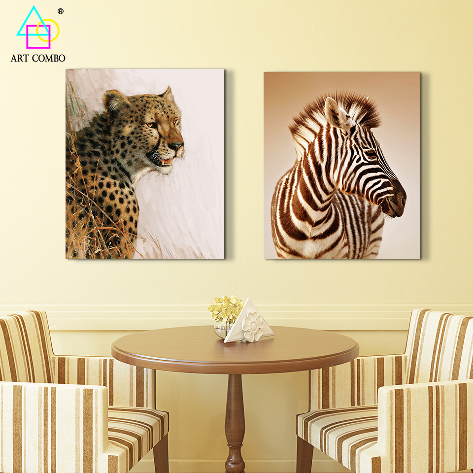 Modern Canvas Printings Painting Animals Zebra Leopard Artwork Home ...