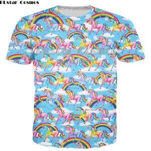 Мужская 3d футболка PLstar Cosmos, модная футболка с буквами единорога, женские/мужские футболки с коротким рукавом, топы с радужным единорогом