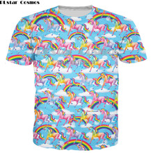 PLstar Cosmos New Fashion Mens 3d T shirt Unicorn Letters T-Shirt Women/Men Short Sleeve shirts Rainbow Tops Tees