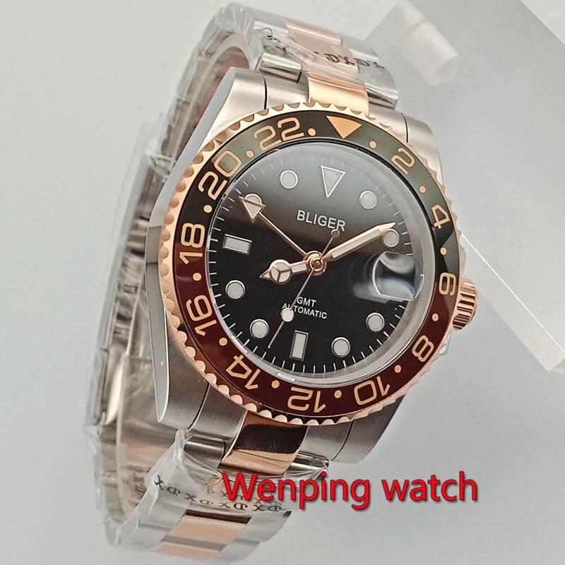 Bliger 40mm black dial Sapphire glass Ceramic Bezel GMT hand Automatic watch Golden middle steel belt