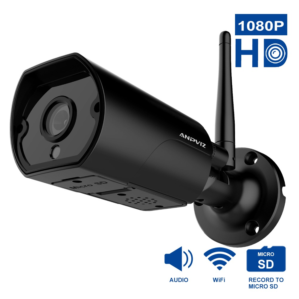 Anpviz WiFi Outdoor IP camera 2MP waterproof 1080P Wireless Home Security Camera Metal Two-Way Audio TF card record P2P bullet цена
