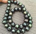 Огромный 20 дюймов ошеломляющий tahitian 10-11 мм черный зеленый жемчужный ожерелье 925 серебряная застежка