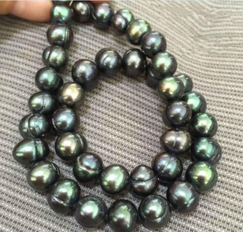 ขนาดใหญ่20นิ้วที่สวยงามตาฮิ10-11มิลลิเมตรสีดำสีเขียวมุกสร้อยคอ925เข็มกลัดเงิน