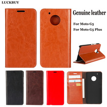 LUCKBUY Top Quality Classic Business Series Real Leather Flip Cover For Motorola G5 5.0 Capa for Moto Plus 5.2