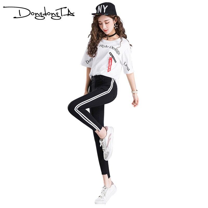 DONGDONGTA 2019 Femmes Leggings nouveauté Taille Haute Legging de Fitness Femme Rayé Mince Leggins HMF-670