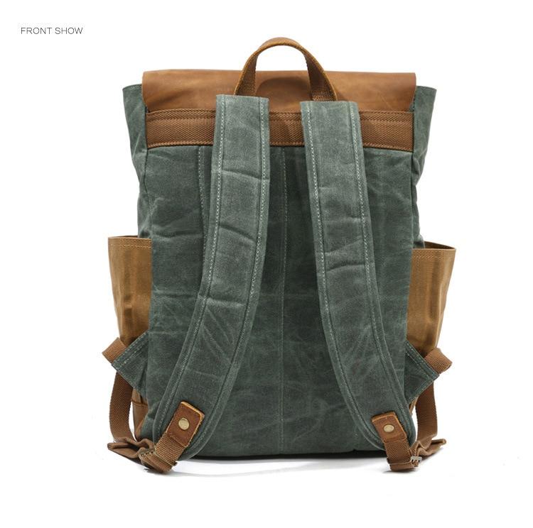 Retro Contrast Oil Wax Waterproof Canvas Bag Travel Backpack Computer Schoolbag Large Capacity Women Backpack 19