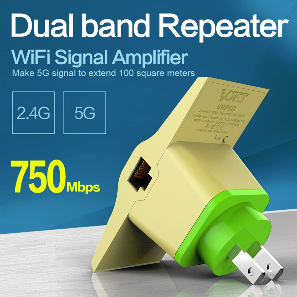VONETS 2.4G/5G Dual Band Wireless Repeater WiFI signal Amplifier 750Mbps extender Wifi Booster Support 802.11AC US Plug