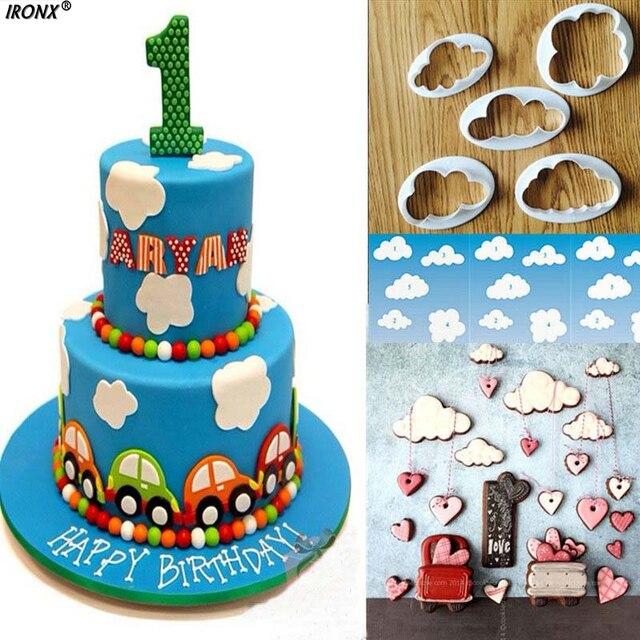 IRONX 5Pcs Set Plastic Cloud Shaped Fondant Cake Decorating Mold Cookie Cutter Press Sugarcraft Mould
