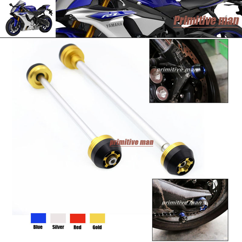 ФОТО For YAMAHA YZF R1 YZFR1 YZF-R1 2009-2013 Motorcycle Front & Rear Axle Fork Crash Sliders Wheel Protector Gold