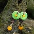 Mulheres brinco luz verde calcedônia jóias bohemia turquesa artificial acessórios menina brincos boucle d'oreille BD027