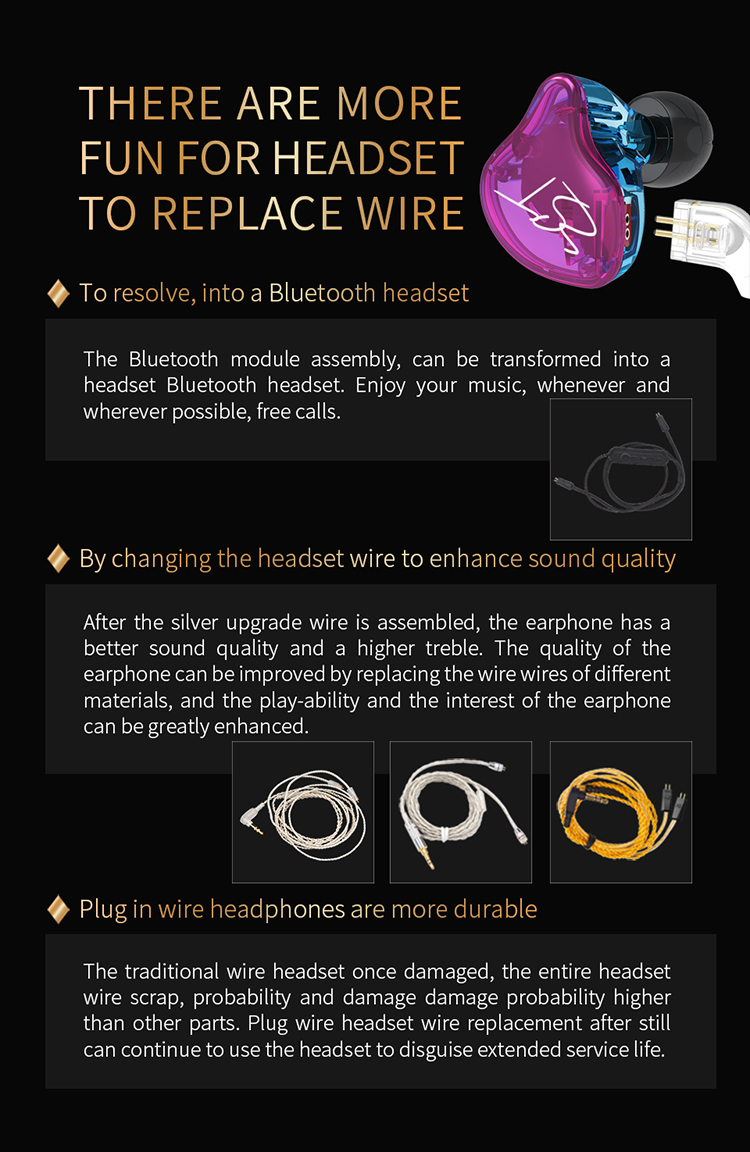 AK Original KZ ZST Colorful BA+DD In Ear Earphone Hybrid Headset HIFI Bass Noise Cancelling Earbuds With Mic Replaced Cable ZSN 14