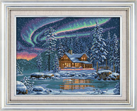 The Aurora Borealis Printed Canvas DMC Counted DIY Chinese Cross Stitch Kits Printed Cross Stitch Set
