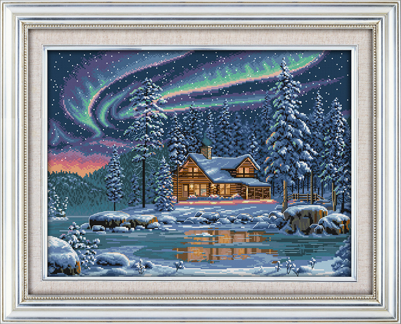 Aurora borealis Printed Canvas DMC Counted DIY Kinesisk Cross Stitch Kits Printet Sting sett Broderi Needlework