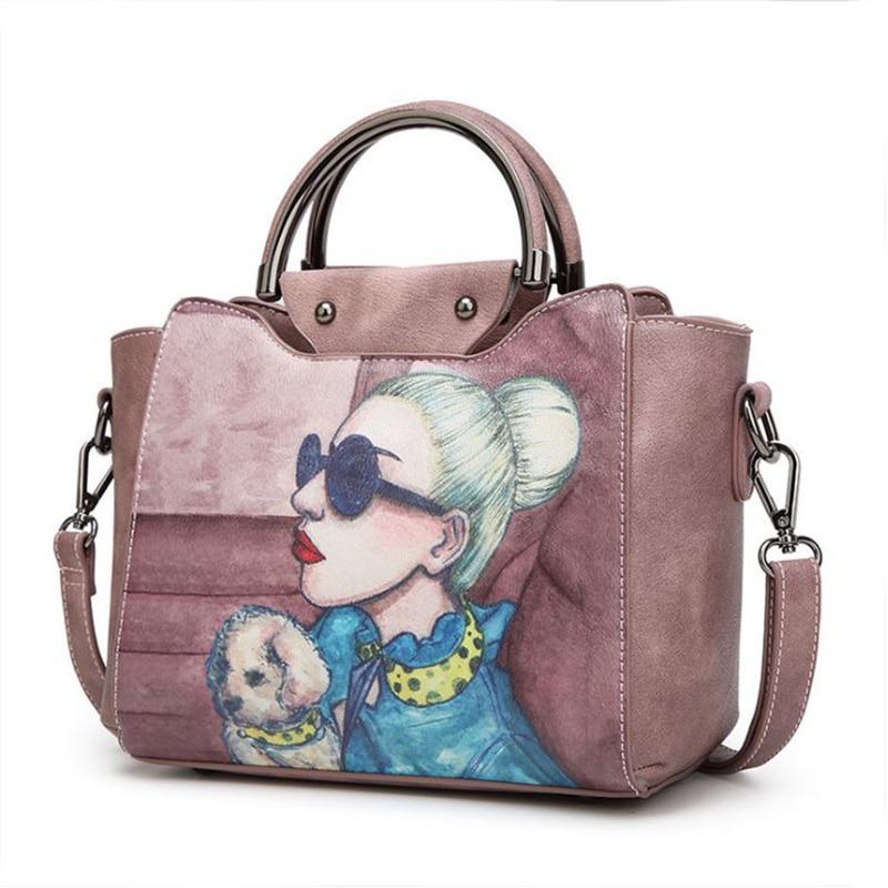 2018 ženy taška kabelka vysoce kvalitní PU kůže vytištěné ženské tote bag vinobraní ženy Messenger rameno taška klapka Bolsa Feminina