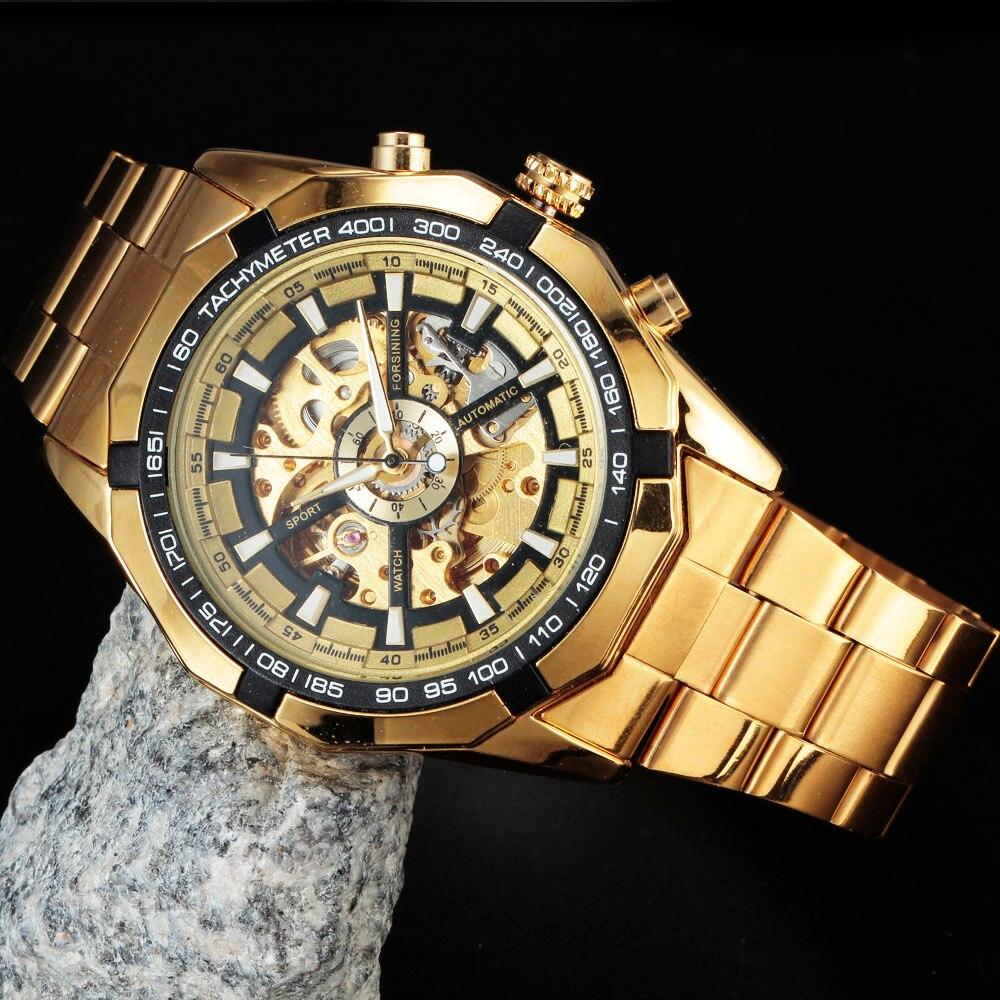 e56757eab82 FORSINING Top Marca de Luxo Mens Watch Men Masculino Casual Relógios de Aço  Cheio De Ouro