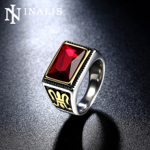 INALIS 2017 Mens Gold-Color Vintage Signet Ring Rectangle Red Stone Punk Gothic Rings for Men Stainless Titanium Steel Jewelry
