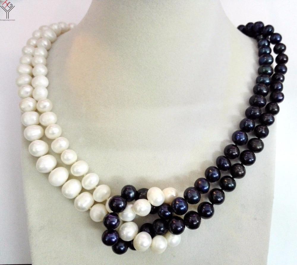 Women Jewelry Set 10mm Bright White Black Pearl Choker Necklace Rhinestone  Stud Earring Natural Freshwater Pearl