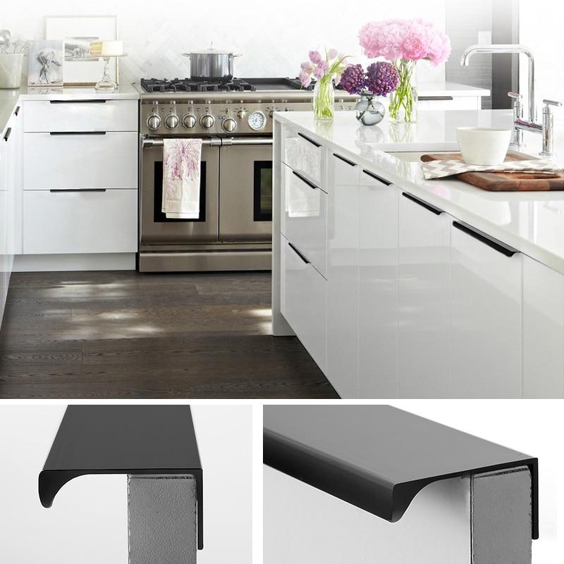 Black Handles For Kitchen Cabinets: Drawer Dark Handle Modern Minimalist Invisible Handles