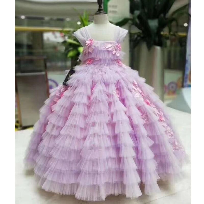 New Arrival   Flowers   Embellishment Cap Sleeves Ball Gown   Flower     Girl     Dresses   Floor Length Princess Communion   Dress   Pageant Gown