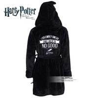 Harri Potter Hogwarts School Symbol Black Magic Robe Cloak Style Coral Velvet Nightgown Pajamas Halloween Cosplay Costume Unisex