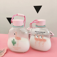 Water Bottles Transparent Glass Cute Flamingo Print Drinkware with Rope