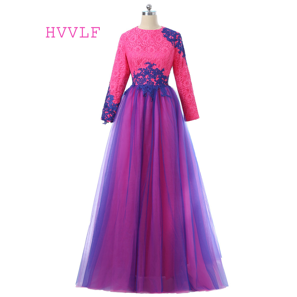Blue 2017 Muslim Evening Dresses A-line Long Sleeves Tulle Lace Hijab Islamic Dubai Abaya Kaftan Long Evening Gown Prom Dress