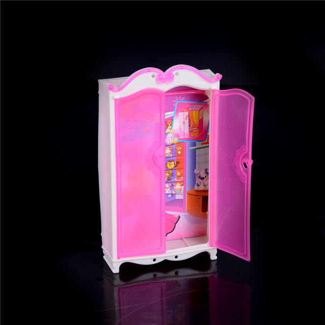 New Mini Princess Bedroom Furniture Closet Wardrobe For Barbie Doll Pink Barbies S Toy