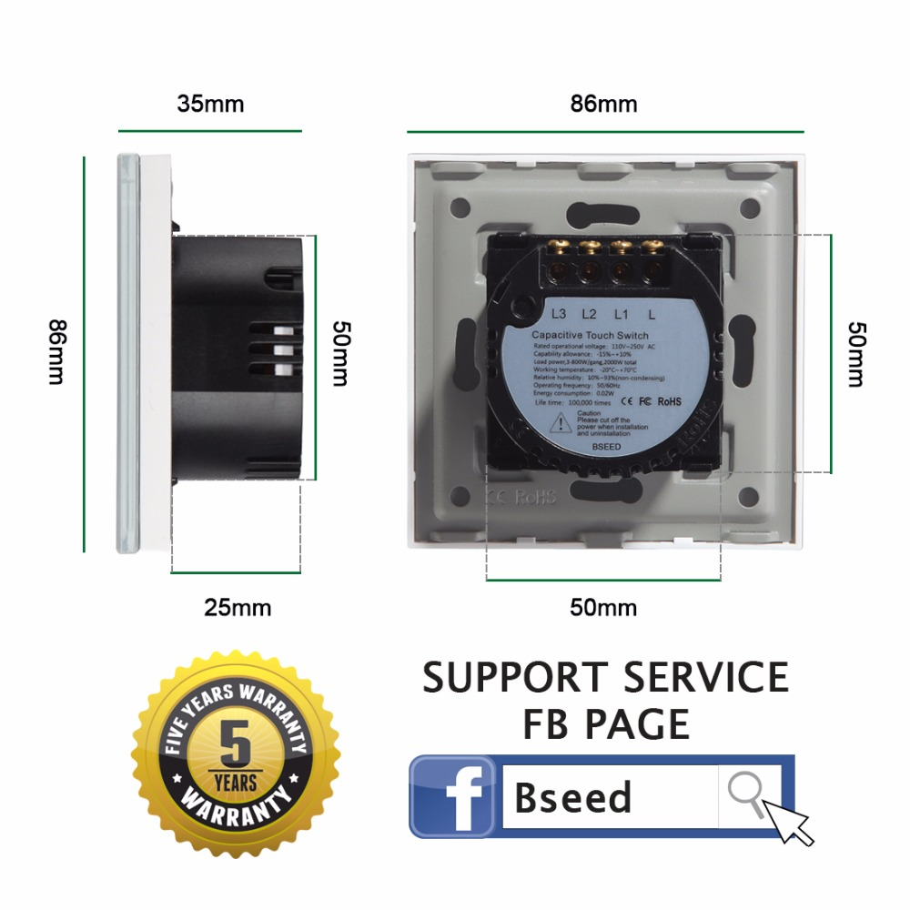 Bseed 16a Touch Switch 1 Gang Way Crystal Light Wall Wiring A Express Delivery 5 Years Warranty Gold In Dimmers From Lights Lighting On