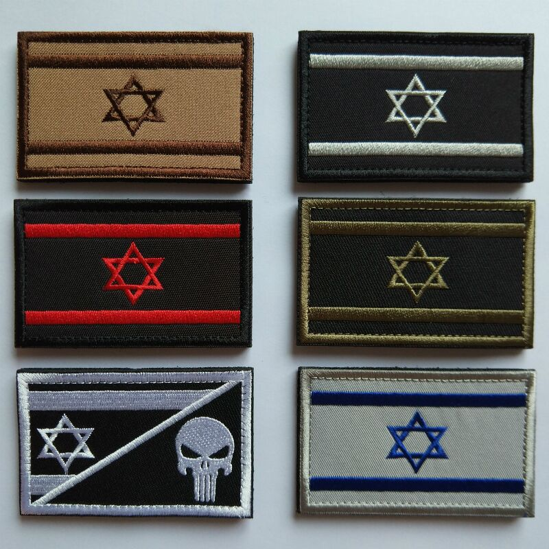 1pcs Embroidery Israel Flag Brassard Skull Tactical Patch Cloth Punisher Armband Army Hook And Loop Emblem Morale Combat Badge