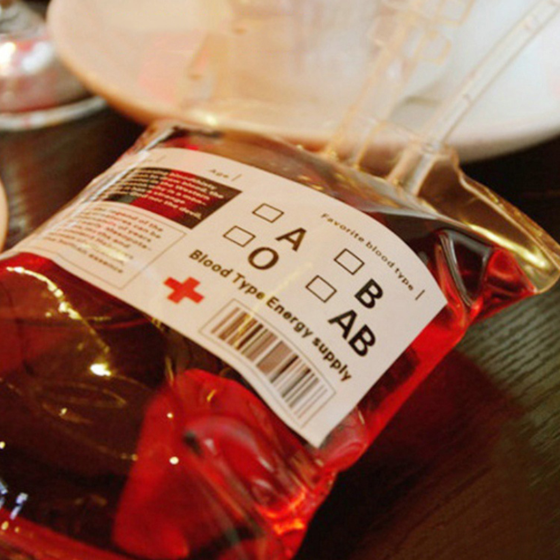 New 1pc 300ml Transparent Clear Medical PVC Material Reusable Blood Energy Drink Bag Halloween Pouch Props Vampire