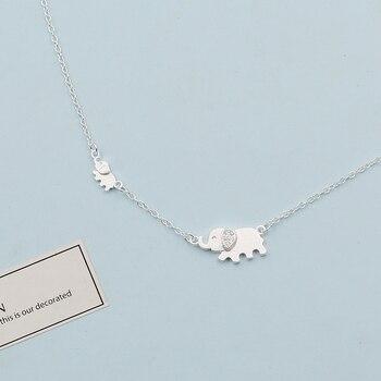 0319eba772a0 XIYANIKE 925 de plata esterlina elefante lindo diseño de moda encantadora  cadena para las mujeres collar gargantilla collares y colgantes VNS8366