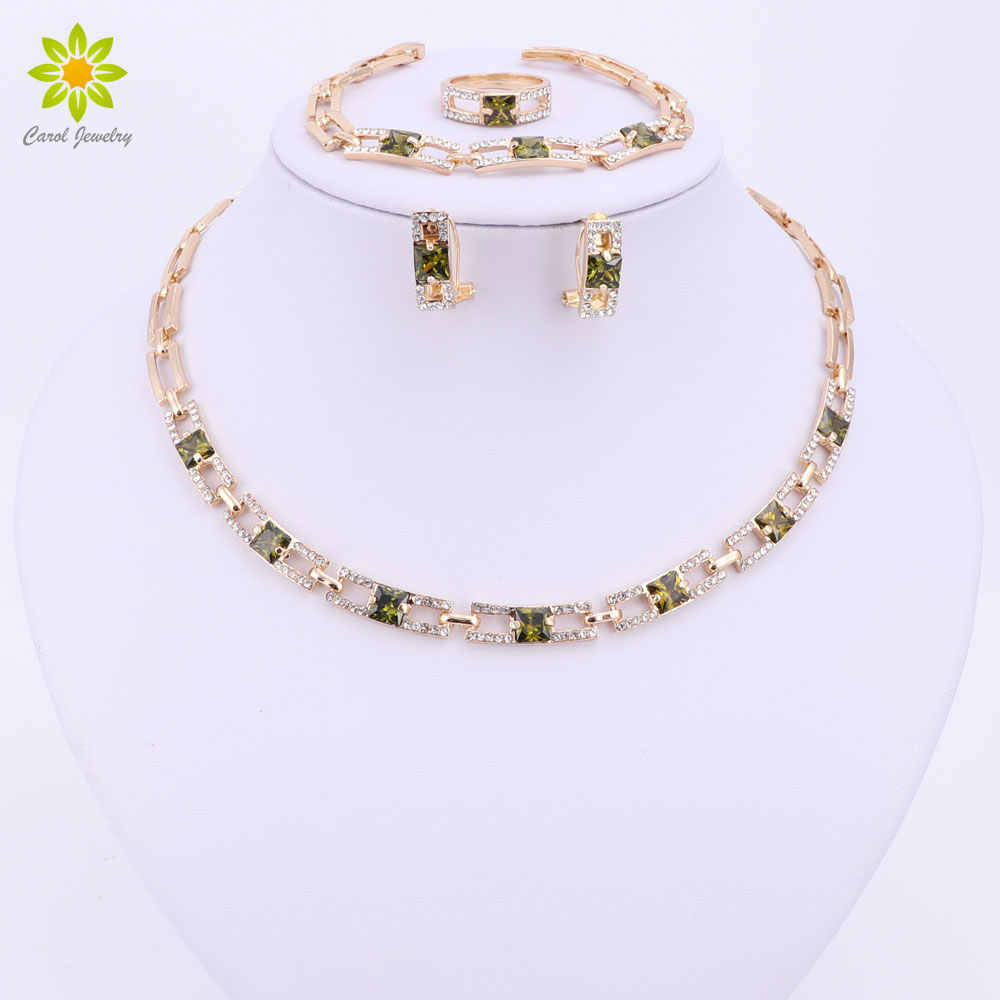 Wedding Party Necklace Jewelry Sets For Women Fashion Green Crystal&Rhinestone Gold Color Pendant Accessories