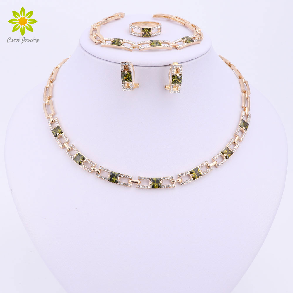 Wedding Party Necklace Jewelry Sets For Women Fashion Green Crystal&Rhinestone Gold Color Pendant Accessories qi ra gold color rear belt pendant with leather rope handmade party jewelry han solo a story of star wars necklace for women