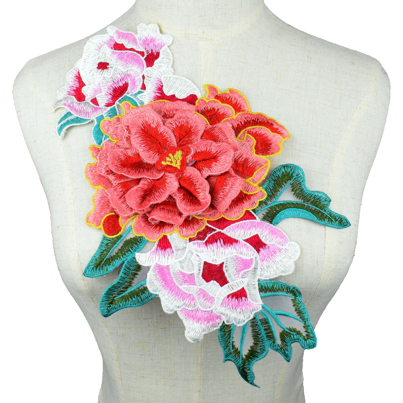 3D Sequined Patches Flowers Sew On Embroidered Patch For Clothing Applique