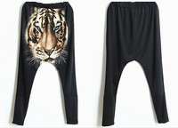 Winter Vintage Animal Tiger Printed Hip hop Casual Women Disco Down Harem Pants Trousers With Elastic Waist For Free Shipping
