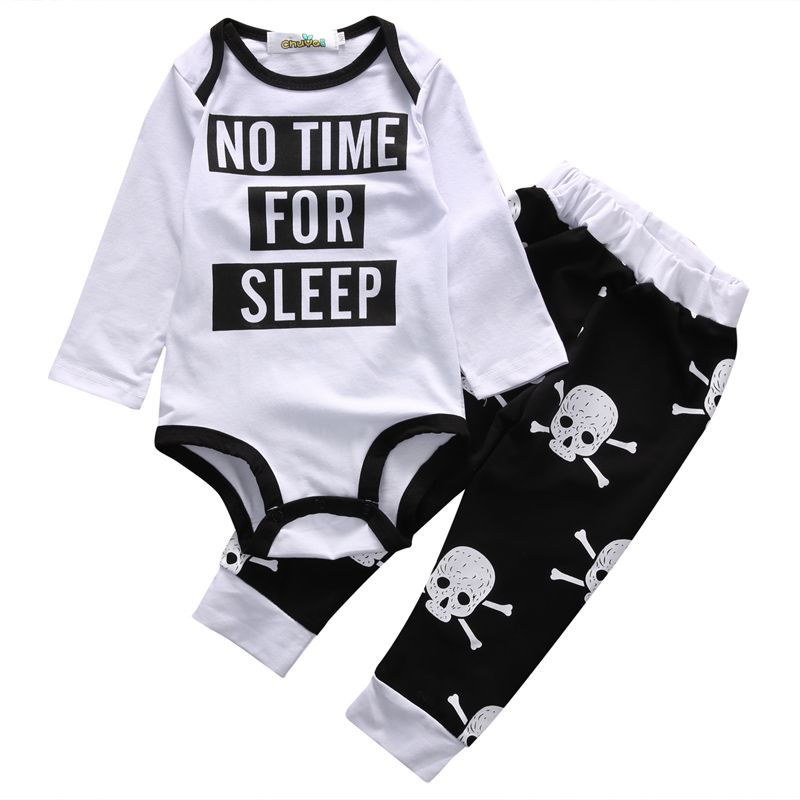New Casual Newborn Infant Baby Boys Skull Cotton Clothes Print Letter O-Neck Romper Tops Pants Trousers Outfits