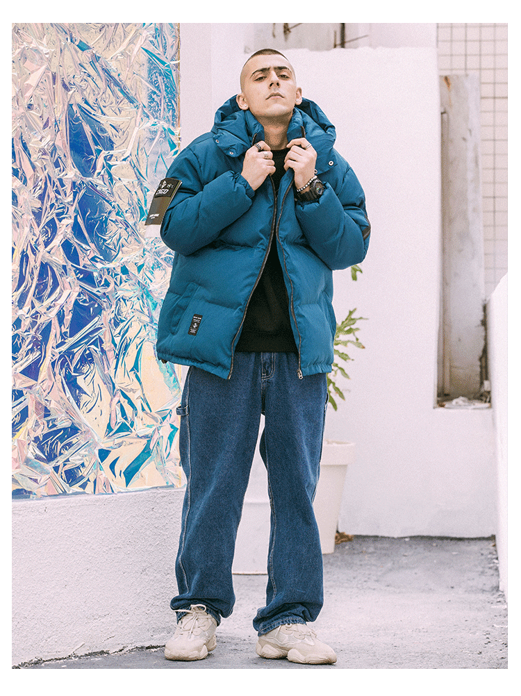 Męskie ciepłe zimowe kurtka nowa moda Bomber odpinany bluza z kapturem gruba powłoka mężczyzna High Street Metal srebrny kurtki Hip Hop Outerwaer