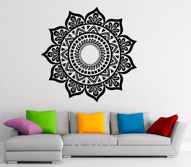 Lotus Flower Wall Art aliexpress : buy mandala stickers indian pattern lotus flower