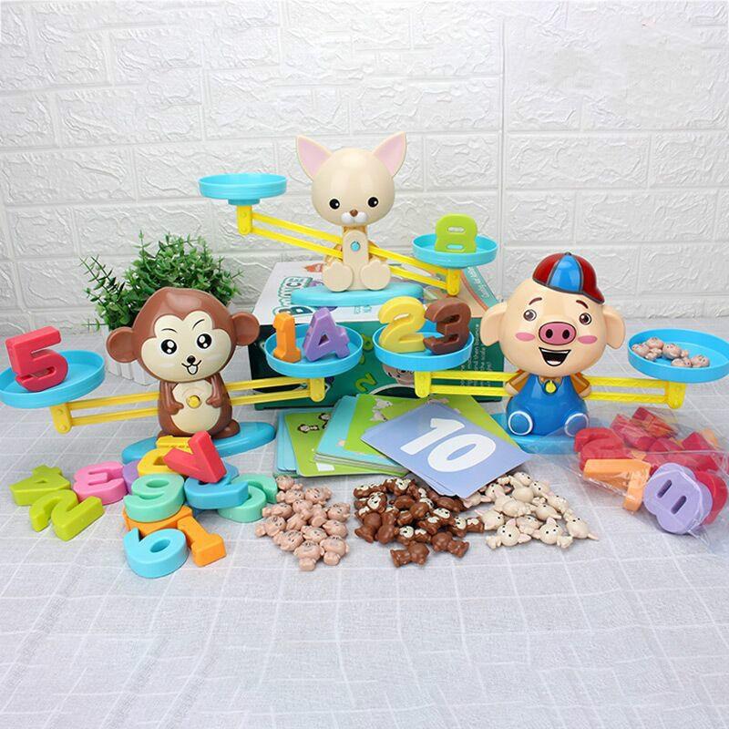 Nouveau numéro Balance jeux de maths Montessori jouet enfant en bas âge début éducatif interactif jouet de mathématiques chien singe pour enfants 3 ans bébé