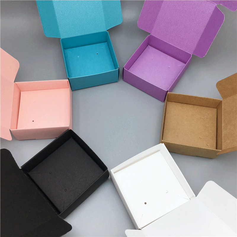 50Pcs/Lot Jewelry Packaging Box For Bracelet Earring Necklace Display Packaging Boxes With Inner Cards Colorful Cardboard Cases