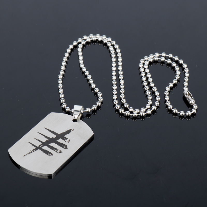 dongsheng Game Dead by Daylight Necklace Stainless Steel Round Bead Chain Pendant Dog Tag Chain Necklace Men Jewelry Fans Gift-3