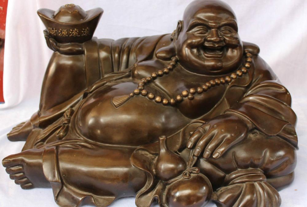 """26"""" Huge Chinese Bronze Happy Laugh Maitreya Buddha Hold YuanBao calabash States"""
