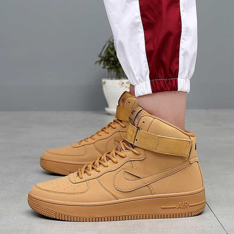 timeless design 1684f 49326 ... Classic Air Force One AF1 Brand Men Sneakers Wheat Color High Top Mens  Breathable Skateborad Shoes