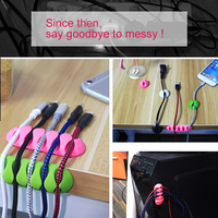 !ACCEZZ USB Cable Organizer Wire Winder Earphone Holder Cord Clip Office Desktop Phone Cables Silicone Tie Fixer Wire Management 2