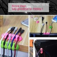 ! ACCEZZ Organizador de cabo USB Enrolador de fio Suporte do fone de ouvido Clipe Cabo Escritório de mesa Cabos de telefone de mesa Silicone Tie Fixer Management 2
