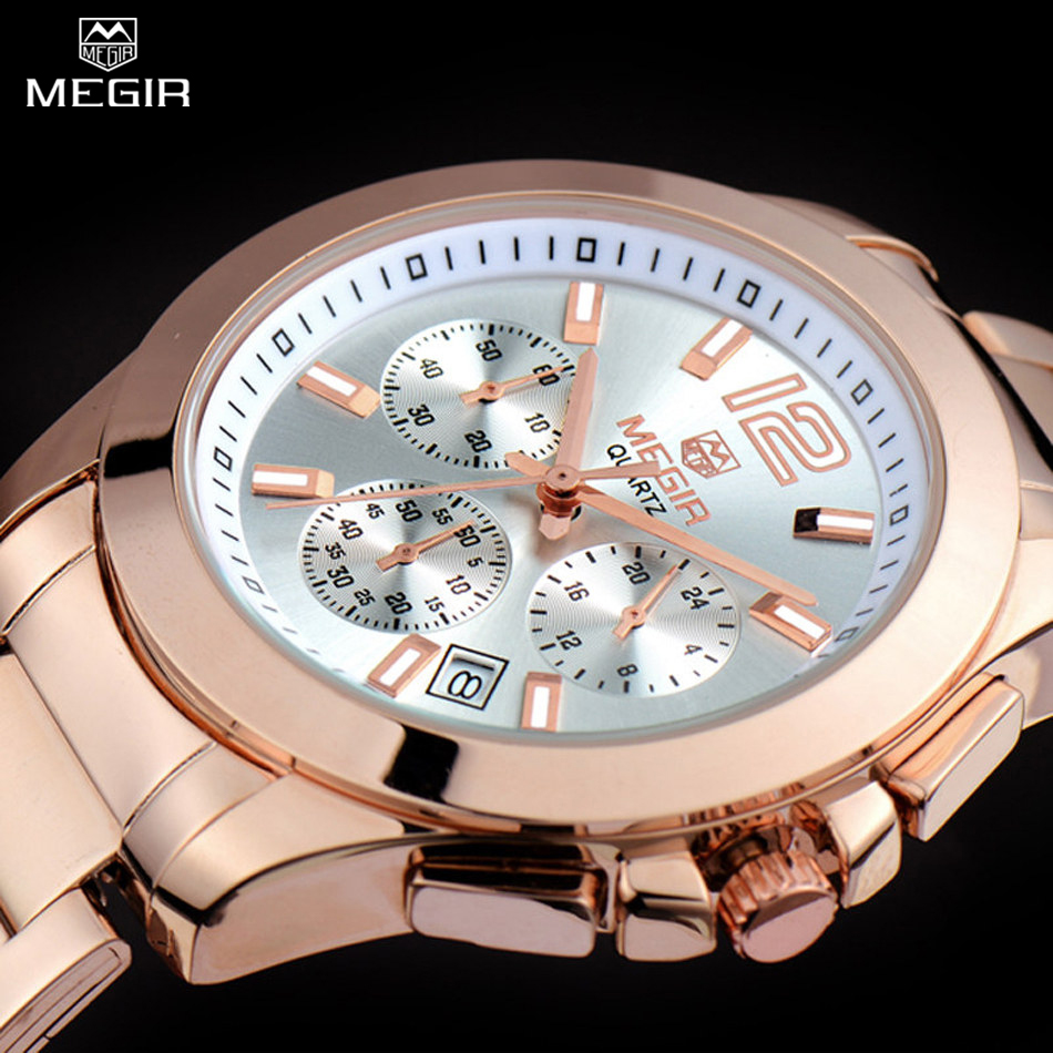 MEGIR Women Or Men Quartz Chronograph Watch Rose Gold Steel Band Bracelet Watch Waterproof Fashion Women Dress Watch ML5006